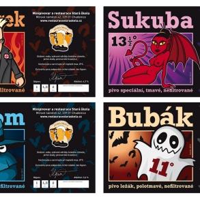 etikety na pivo Minipivovar Stará škola