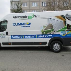 polep dodávky Climax žaluzie